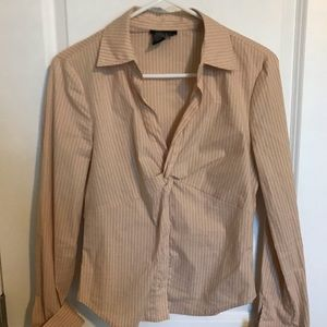 BCBG cream striped button up shirt